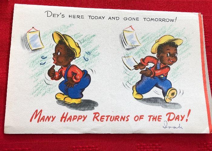"Hallmark VTG  Card  Black Americana ""Dey's Here today and gone tomorrow"""