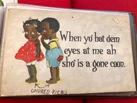 Antique Post card When yo Bat Dem eyes at me Ah Sho' is a gone Coon #rarepostcard.com
