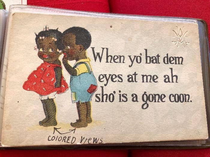 Antique Post card When yo Bat Dem eyes at me Ah Sho' is a gone Coon #rarepostcard.com