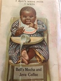 "Bell's Mocha and Java Coffee ""I don't want milk I want"" Advertising with Poem on the back side"