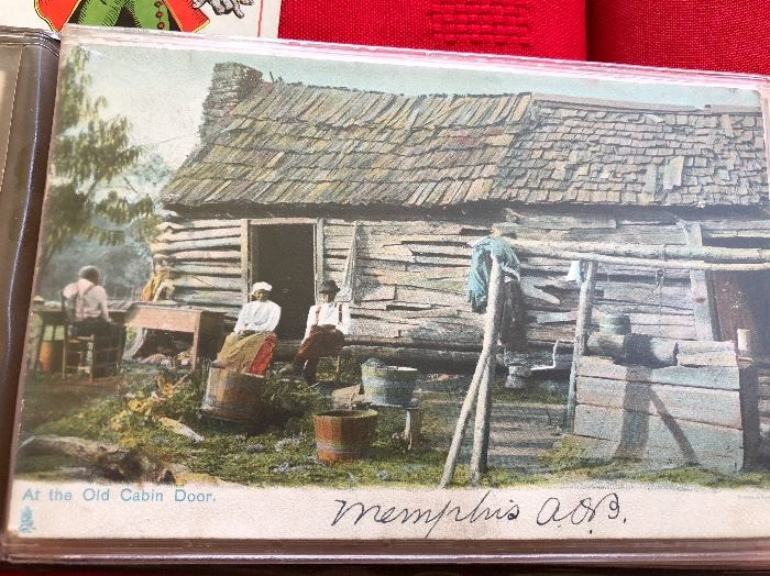 """1907 Post card """"at the old cabin door"""""""