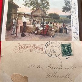1906 Weighing cotton at the planters home Black Americana Oklahoma Postcard