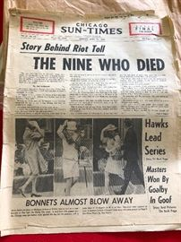 "Chicago Sun Times Historical Paper ""Story Behind the Riot Toll"""