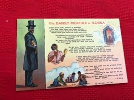 The Darkey Preacher in Florida Postcard made of linen 1940ish C. T. ART COLORTONE company