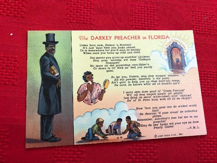 The Darkey Preacher in Florida Postcard made of linen 1940ish C. T. ART COLORTONE company