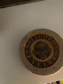 """1920's Black Americana Box """"Solidhed Eyelets"""" Hawkes-Jackson Co. NY"""