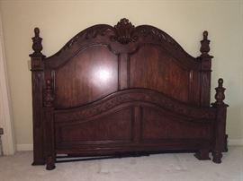 Solid pecan king bedroom suite