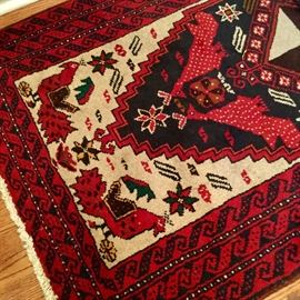 Great selection of area/throw rugs. Most are hand-knotted, wool. Sizes vary. We'll try to get the sizes listed!