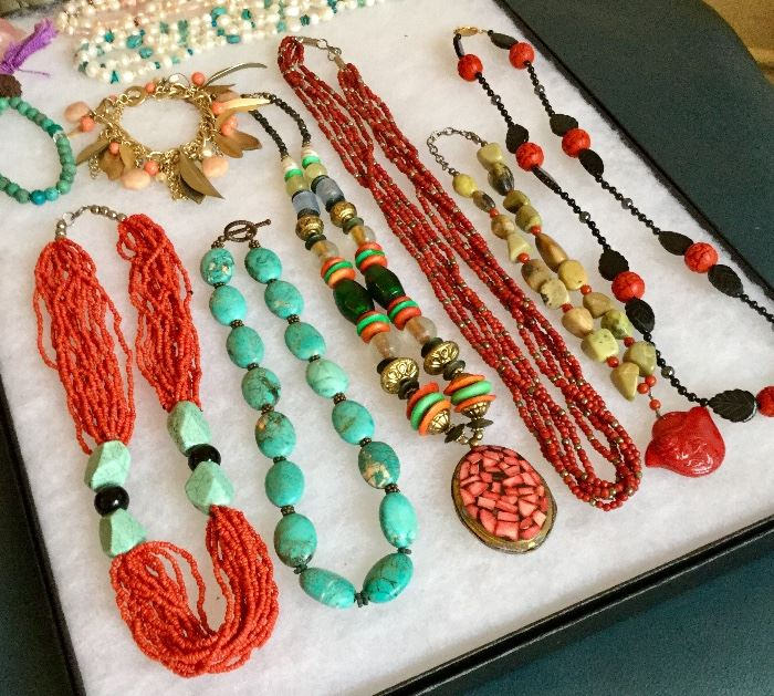 Turquoise, Cinnabar, Jade and more! Lovely costume jewelry pieces.