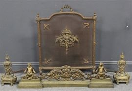 Antique French Bronze Fire Screen Tools Fender