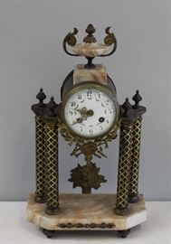 Antique Bronze Mounted Columnar Clock