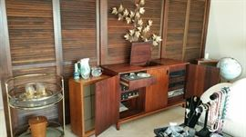 WOW! the stereo console of the century - Heathkit with added components in Teak or Walnut console.  Electro Voice speakers, Curtis Jere' style wall hanging, Hollywood regency style rolling brass and glass cart