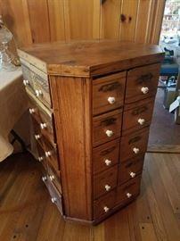 Early 1900s Oak 40 drawer revolving bolt bin... From hardware store in Woodleaf nc