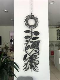 Large metal sunflower sculpture