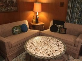vintage sofa-put together for one long couch! Awesome mosaic coffee table!