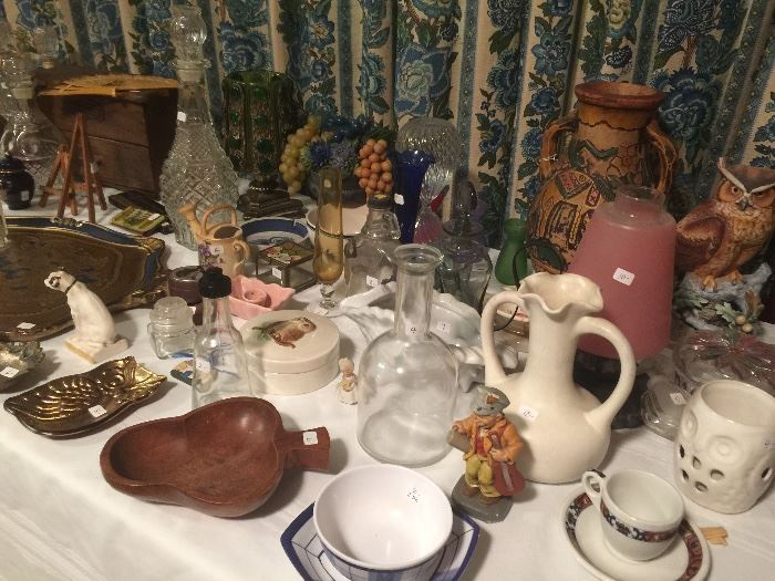 "Vintage decorator items...lots of bottles and ""owls"""