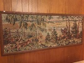 Large framed tapestry.