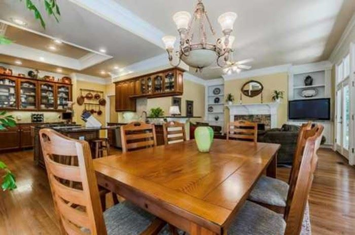 Broyhill Attic Heirlooms Farm Table with two (2) leaves, and Broyhill Attic Heirlooms eight (8) chairs