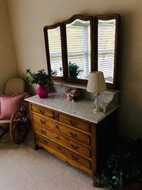 Antique beveled three-panel mirror marble top oak dresser