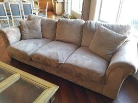 Microfiber/Suede Neutral Sofa