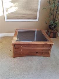 Glass Top Coffee Table w/Drawers