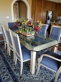 Wonderful Classic Glass Top Dining Table with 8 Chairs.