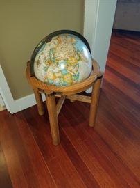 Wonderful Danish Style Stand and Vintage Globe