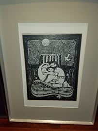 Woodblock signed by Artist