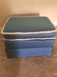 Vintage Upholstered Ottoman w/Rollers