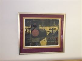 1960's David Weidman Polescape Mid Century Silk Screen ~ Signed and numbered by the Artist