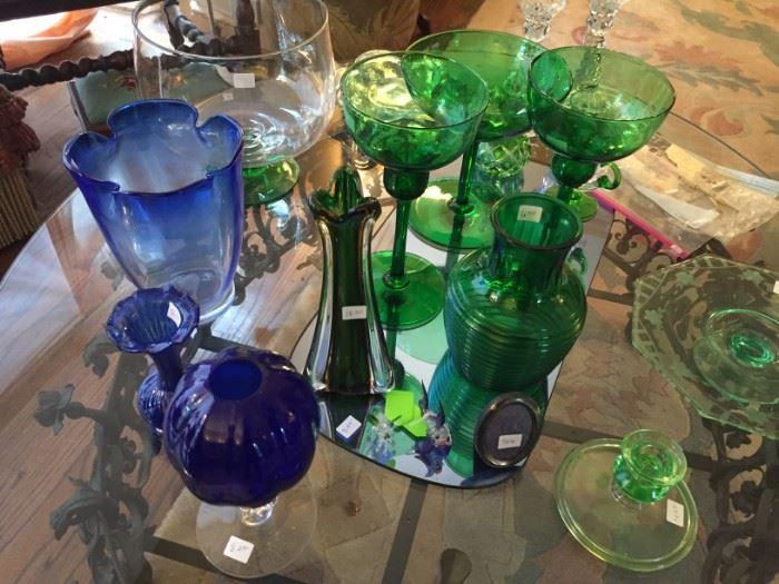 Dark Green and Cobalt Elegant Glassware