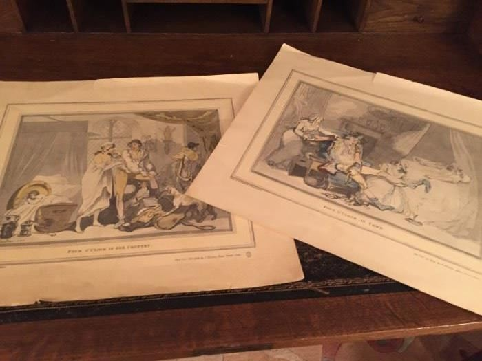 """Four O'Clock in Town""  and "" Four O'Clock in the Country"" , prints by T Rowlandson."