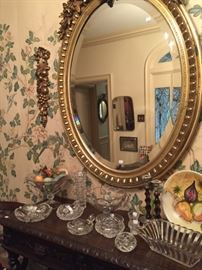 Large Antique Gilded Mirror, Flanked by Gilded Della Robbia Wall Decorations
