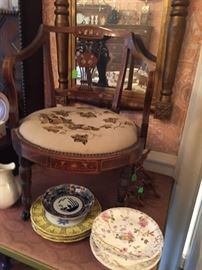 Rare Plantation Era Italian Renaissance Ladies Hoop Skirt Parlor Chair with Ivory and Marquetry Inlay, Original Leaf Motif Needlepoint Seat Cover.