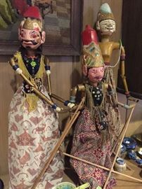 Vintage Carved Wood Balinese Puppets