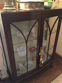 Pair of Matching Antique Mahogany and Glass Curio Cabinets