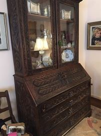 Gorgeous Antique Secretary wit h Lion Head Cravings filled with beautiful decoratives