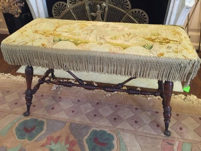 Antique Needlepoint Covered Glass Ball / Claw Footed Turned Leg Fireplace Bench