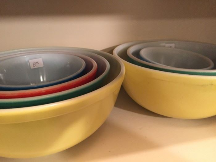 Sets of Vintage Pyrex Primary Colors Nesting Mixing Bowls