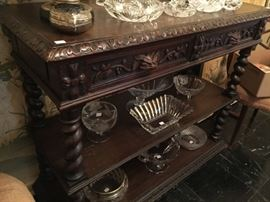Large Antique Carved Multi-Level Entry Table