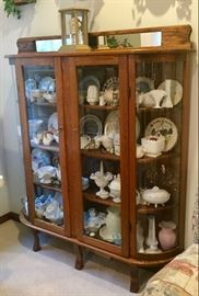 Large Curved Glass Curio Cabinet