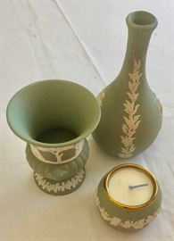 Wedgewood Vases and Candle Holder