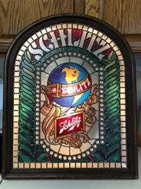 Rare large vintage Schlitz faux stained glass style globe lighted wall sign
