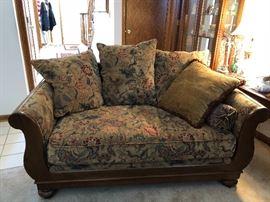 love seat with matching 3 cushion sofa custom paisley print wood frame