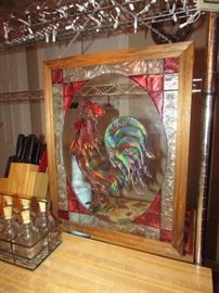 Stain glass framed rooster