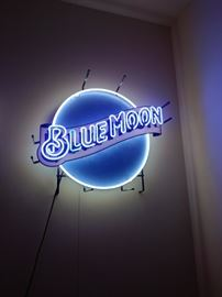 Blue Moon neon beer sign