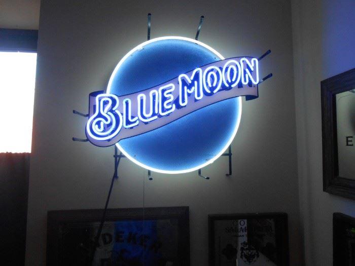 Blue Moon neon beer sign