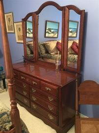 Long dresser with the triple mirror