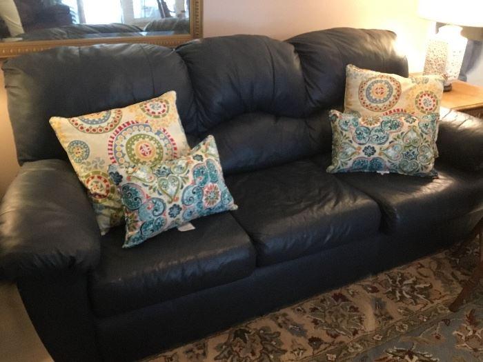 Long navy blue sofa