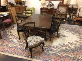 Dining Set with 8 Chairs (has matching credenza cart)